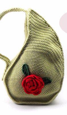 PDF Pattern - Unique Teardrop Shape Bag Crochet Purse Pattern Unusual Crochet Handbag Pattern Flower on Luulla Crochet Purse Patterns, Bag Crochet, Crochet Handbags, Crochet Purses, Crochet Crafts, Flower Crochet, Handbag Patterns, Crochet Bikini, Triangle Bag