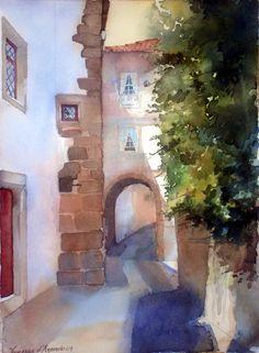 Street in Coimbra, watercolour by Vanessa Azevedo