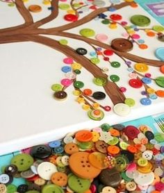 button tree craft project for children