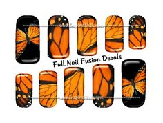 Monarch Butterfly Nail Art Set of 24 Full Nail by InspiredNails. $11.00 USD, via Etsy.
