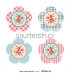 Vintage labels with roses in shabby chic style for scrap booking or as sale tags for prices or as cupcake toppers isolated on white - stock vector
