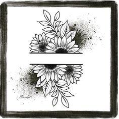 Bild Tattoos, Neue Tattoos, Body Art Tattoos, Sleeve Tattoos, Sunflower Drawing, Sunflower Tattoos, Sunflower Tattoo Design, Sunflower Art, Art Drawings Sketches Simple