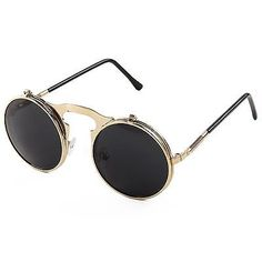 Pession Small Retro Steampunk Circle Flip Up Glasses / Sunglasses