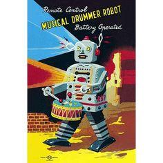"Buyenlarge 'Musical Drummer Robot' Vintage Advertisement Size: 30"" H x 20"" W"
