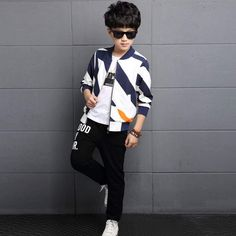 Sport Clothes Children Spring 2-pc Clothes Set Kids – Trending Accessories Sport Outfits, Boy Outfits, Cocktail Wear, Kids Coats, Outfit Sets, Bomber Jacket, Winter Jackets, Celebrities, Children