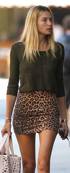 Jessica Hart Street Style # dark green lose knitted top with tight leopard skirt #sexy http://pinterest.com/ginawang831/boards/