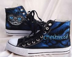 Chesire Cat Painted Custom Converse Sneakers Hand Painted, 100% hand painted- 100% New Shoes About Cconverse Size: (Unisex Adults) Please choose size by checking our size conversion chart carefully. If you have a different design idea, please contact me and send me the pictures, i will giv...