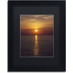 Trademark Fine Art Sunset Paddleboard Canvas Art by Kurt Shaffer, Black Matte, Black Frame, Size: 16 x 20, Orange