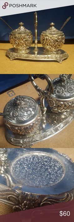 Vintage Condiment Set Vintage Silverplate condiment set.  Reprousse Floral Design  HF- 0917  Comes with carrier, 2 condiment cups, 2 glass holders for inside the cups, and two spoons. Vintage Other