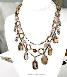 Extasia Arts and Crafts Intaglio Necklace Amethyst, Peach and Opalescent Butterscotch