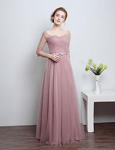 Μακρύ Σατέν / Τούλι Φόρεμα Παρανύμφων Ίσια Γραμμή Σχήμα U με Φιόγκος(οι) 5060355…