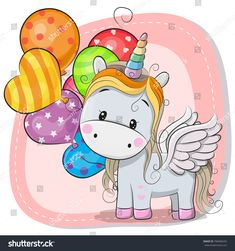 Find Greeting Card Cute Cartoon Unicorn Balloon stock images in HD and millions of other royalty-free stock photos, illustrations and vectors in the Shutterstock collection. Cartoon Unicorn, Unicorn Art, Cute Unicorn, Unicorn Poster, Kids Cartoon Characters, Cartoon Kids, Cute Cartoon, Cartoon Mignon, Unicornios Wallpaper