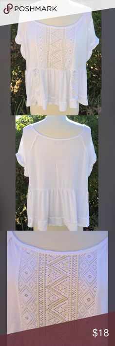 Free People Top Free People top.. Very cute and comfy.. Flowy with a lot of details- Beading down the front.. Lace inlay through out.. And rolled up short sleeve.. Very lightly loved.. Free People Tops Blouses