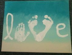 Hand and foot print love on canvas