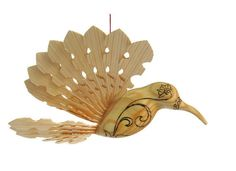 Wooden Bird of Happiness Hummingbird Art Carving by MyFanbirds