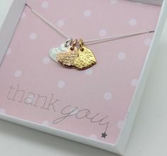 A beautiful and delicate mixed metal textured heart charm necklace.'Say it with jewellery' by choosing one of our sentiment cards: Will you be my bridesmaid? Thank you for being my bridesmaid Will you be my flowergirl? Thank you for being my flowergirl Thank You Birthday Wishes With Love Merry Christmas Happy Valentines Day Happy Mothers Day Browse the images above to see the style of each card You can also personalise each charm by having an initial hand stamped discreetly on the reverse…