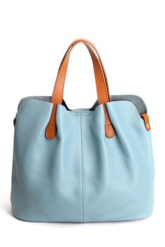 Ohan Blue Stitching Textured Leather Tote Bag | Totes at DEZZAL