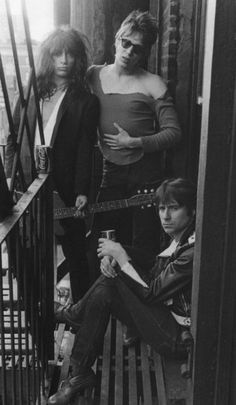 Johnny Thunders / Richard Hell / Jerry Nolan // This looks so much like some of the photos of Patti Smith on various Chelsea Hotel fire escapes that I wonder if Mapplethorpe might have shot it.