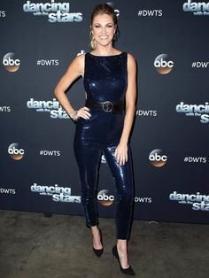 """Erin Andrews tells Instyle Online about her jumpsuit and Beladora jewelry for Dancing with the Stars in """"Erin Andrew's Sparkly Jumpsuit for DWTS Halloween Night Was Scary Good. Blond, Sandy Grease, Sparkly Jumpsuit, Erin Andrews, Dancing With The Stars, Celebs, Celebrities, Fashion Books, Latest Fashion Trends"""