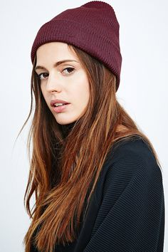 BDG Ribbed Beanie in Red Wine