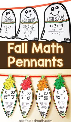 In this post are holiday math activities for middle school, elementary school and high school -- all that double as fall classroom decor Kids Math Worksheets, Math Activities, Math Games, Fraction Word Problems, Math Word Problems, Teaching Math, Math Math, Fall Classroom Decorations, Middle School