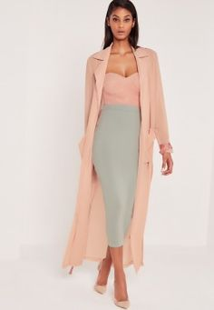 Grey Long Sleeve Maxi Duster Jacket in 2020 Classy Outfits, New Outfits, Fashion Outfits, Fall Fashion, Party Outfits, Fashion Trends, Maxi Coat, Belted Coat, Coats For Women