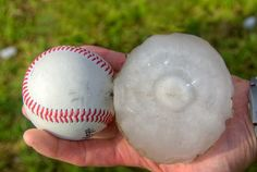 Picture of hail compared to a baseball
