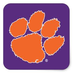 Shop Clemson University Tiger Paw Square Sticker created by clemsontigers. Clemson Football, Clemson Tigers, Clemson Wallpaper, Save The Tiger, Tiger Paw, Different Shapes, Custom Stickers, Iphone Wallpaper, Activities For Kids