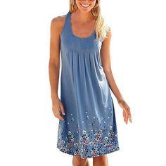 Bodycon Three Color Women's Summer Casual Loose Dress Print Pleated Sleeveless O-Neck Sundress Beach Knee-Length A-Line Dresses #Affiliate