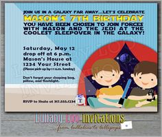 Slumber Party Invitations Boy:  Product No. 133 - Star Wars Birthday Party - Boys Birthday Party Invitations - 12 Printed Invitations
