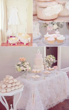 Vintage Pink Christening Party with lots of baby shower ideas or birthday party ideas or First Communion