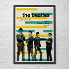 BEATLES POSTER - Retro Beatles British Invasion Art - Retro Minimalist Music Poster Print Vintage Music Show Swiss Style Helvetica Poster
