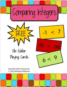 Free file folder playing cards for comparing integers.  Pair with game boards you already have or get one from www.the-tutor-house.com