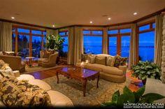 Wood trim, lights, curtains, semi-separate reading spot