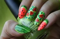 Fruit Nail Designs to Make a Summer Manicure Watermelon Nail Watermelon Nail Art Watermelon Nail Designs, Watermelon Nail Art, Fruit Nail Designs, Fruit Nail Art, Best Nail Art Designs, Toe Nail Designs, Yellow Nails Design, Yellow Nail Art, Nail Art Design Gallery