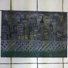 """""""City From The Park"""" by Charles Peter Watson acrylic paint & Glitter Glue on wood """"20.25"""" X 14.12"""" $30"""