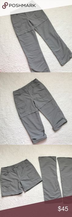 "The North Face Outdoor Convertible Pants These 3 in one pants are such great quality and in good shape.  There is a tiny pen mark on the front fly.  Snap button and drawstring waist.  Zip off legs turn to shorts or roll up button tab turns into capris.  100% Nylon.  Measurements laying flat are approximately: Waist 15"".  Rise 8.5"".  Pant inseam 31"".  Short inseam 5.5"". The North Face Pants"