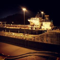Night at the Panama Channel.