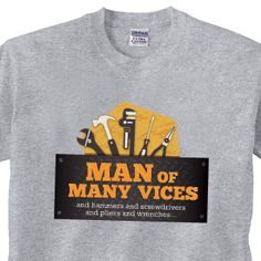"Product # RGT374 - Perfect for any handy man! Grey t-shirt is 100% cotton. Medium measures 20""W x 29""L. $19.98"