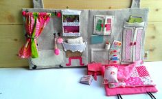 Textile Dollhouse with a Mini Ragdoll and Miniature Accessories / Travel Dollhouse /  Portable Dollhouse / School / Study / Bathroom