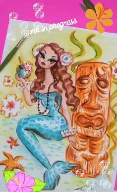 Pin Up Mermaid, Mermaid Art, Pin Up Girl Vintage, Vintage Art, Miss Fluff, Mermaid Wallpapers, Tiki Art, Mermaid Drawings, Fantasy Mermaids