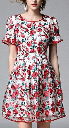 Red-Floral Embroidered Dress
