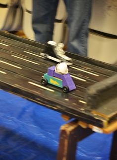 Humpty Dumpty derby instead of regular Pinewood Derby -- GENIUS!