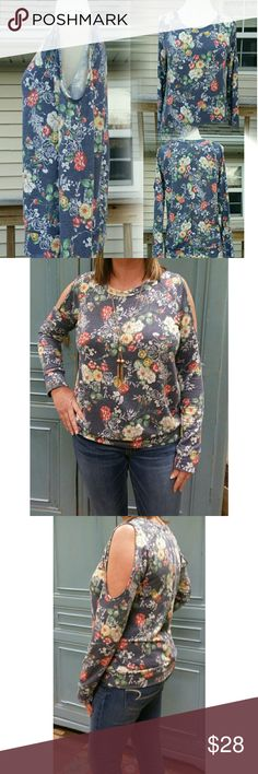 👉 New Listing 🔥Floral Top Cold Shoulder Floral Print Brushed French Terry Top. This is so comfortable I had to keep one. 62% Polyester] 33% Rayon] 5% Spandex] Measurements to come Boutique  Tops