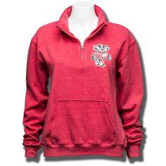 League Women's ¼ Zip Bucky Sweatshirt (Vintage Red)