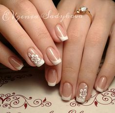 25 splendid french manicure designs classic nail art jazzed up 13 French Manicure Nails, French Tip Nails, French Nail Designs, Nail Art Designs, Wedding Nails Design, Wedding Pedicure, Bride Nails, Stylish Nails, Flower Nails