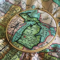 Embroidered map by R