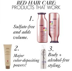 Products for red hair that worked: Pureology Pure Volume Shampoo and Conditioner, Aveda Madder Root Conditioner, EverStyle Volume Mousse