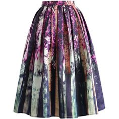 Chicwish Enchanted Purple Forest Midi Skirt (170 RON) ❤ liked on Polyvore featuring skirts, bottoms, purple, pleated midi skirt, knee length pleated skirt, calf length skirts, pleated skirt and mid calf skirts