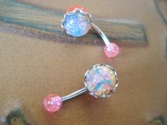Pink Fire Opal Belly Button Jewelry Ring Stud by Azeetadesigns, $19.50
